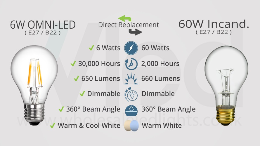 Comparison between 6W OMNI-LED Clear Globe And Its Older 60W Incandescent