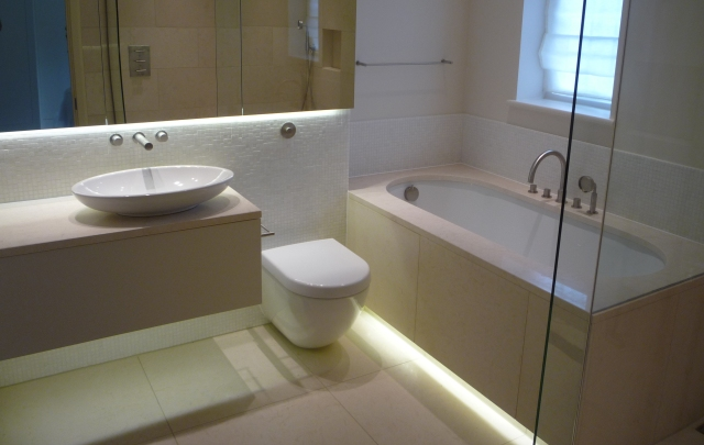 Some ideas for using led strip lights in your home for Bathroom strip light