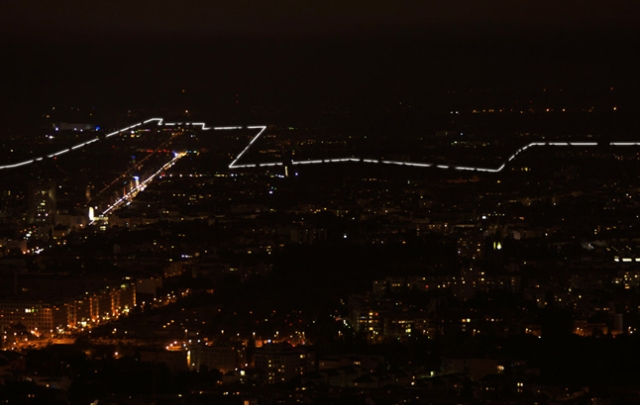 Border of Lights In Berlin - Panoramic View