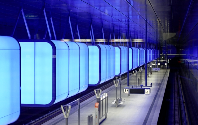 Hamburg - Hafencity Subway Station Receives Colourful LED Makeover