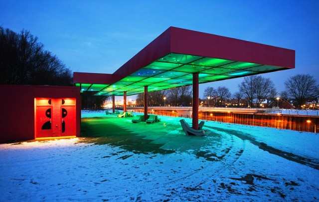 Sophie Valla's 'LED Cloud' Turns Old Gas Stations Into Artificial Skies