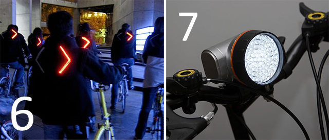 6. The Turn Signal Biking Jacket, 7. LED Bike Light