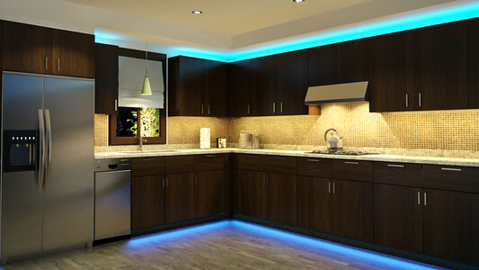 Kitchen with Strip Lights
