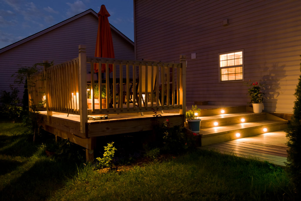 Wooden deck with decking lights