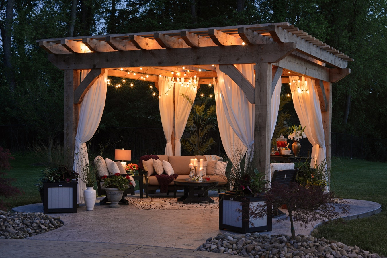 Summer Canopy Lit Using LEDs