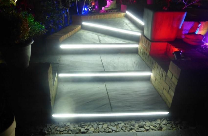 LED Strip Lights On Garden Steps